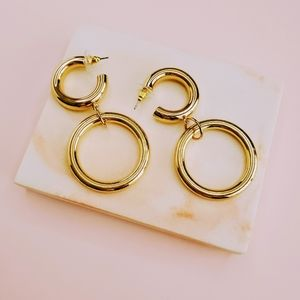 Gold Color Double Open Metal Circle Link Earrings